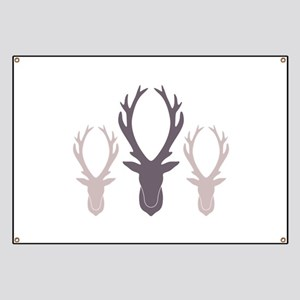 Deer Antler Head Silhouettes Banner