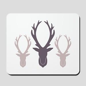 Deer Antler Head Silhouettes Mousepad