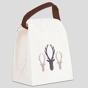Deer Antler Head Silhouettes Canvas Lunch Bag