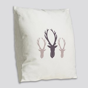 Deer Antler Head Silhouettes Burlap Throw Pillow