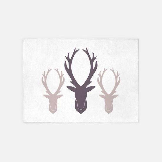 Deer Antler Head Silhouettes 5'x7'Area Rug