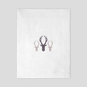 Deer Antler Head Silhouettes Twin Duvet