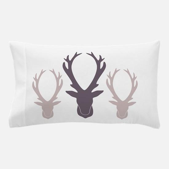 Deer Antler Head Silhouettes Pillow Case