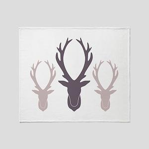Deer Antler Head Silhouettes Throw Blanket