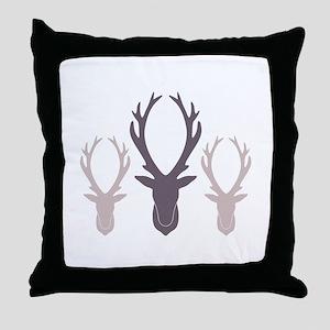 Deer Antler Head Silhouettes Throw Pillow