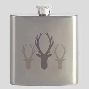 Deer Antler Head Silhouettes Flask