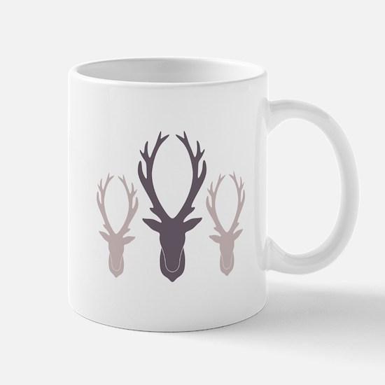 Deer Antler Head Silhouettes Mugs