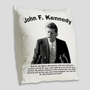 JFK Ask Not Burlap Throw Pillow