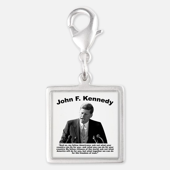 JFK Ask Not Silver Square Charm