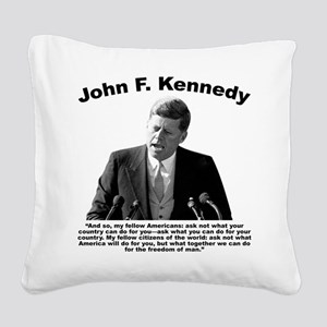 JFK Ask Not Square Canvas Pillow