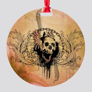 Awesome skull with crow and bones Ornament