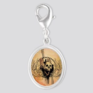 Awesome skull with crow and bones Charms