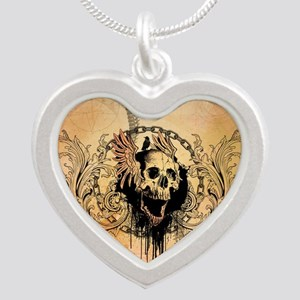 Awesome skull with crow and bones Necklaces