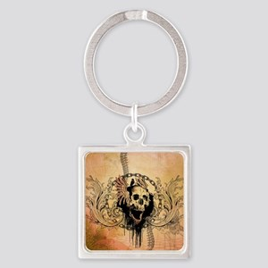 Awesome skull with crow and bones Keychains
