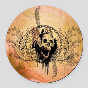 Awesome skull with crow and bones Round Car Magnet