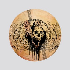 Awesome skull with crow and bones Button