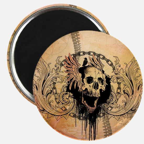 Awesome skull with crow and bones Magnets
