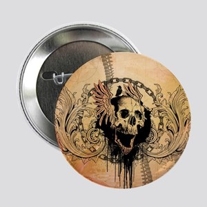 "Awesome skull with crow and bones 2.25"" Button (10"