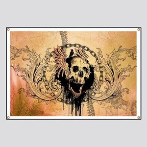 Awesome skull with crow and bones Banner
