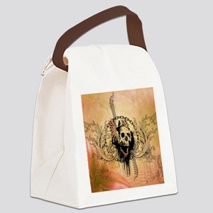 Awesome skull with crow and bones Canvas Lunch Bag