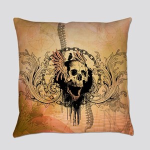 Awesome skull with crow and bones Everyday Pillow