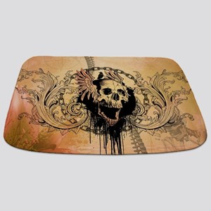Awesome skull with crow and bones Bathmat