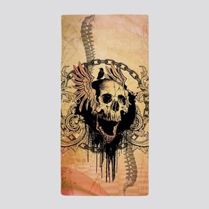 Awesome skull with crow and bones Beach Towel
