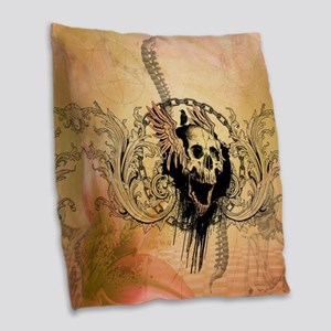Awesome skull with crow and bones Burlap Throw Pil