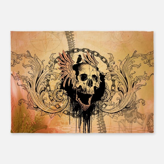 Awesome skull with crow and bones 5'x7'Area Rug