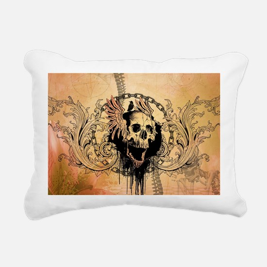 Awesome skull with crow and bones Rectangular Canv