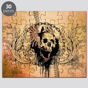 Awesome skull with crow and bones Puzzle