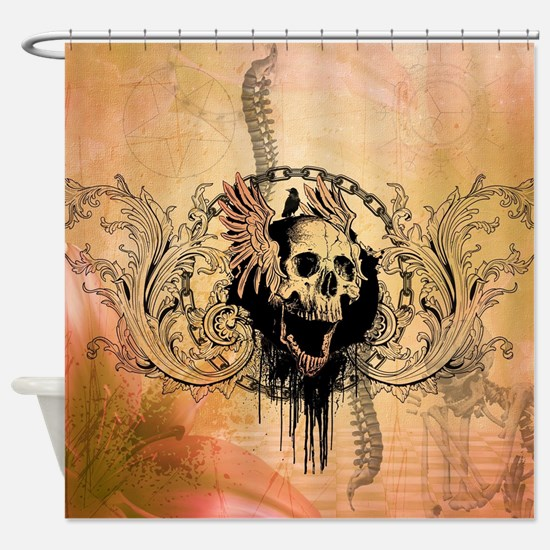Awesome skull with crow and bones Shower Curtain