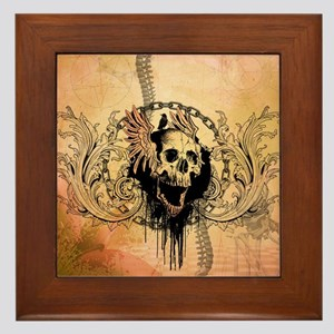 Awesome skull with crow and bones Framed Tile