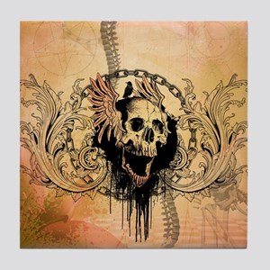 Awesome skull with crow and bones Tile Coaster