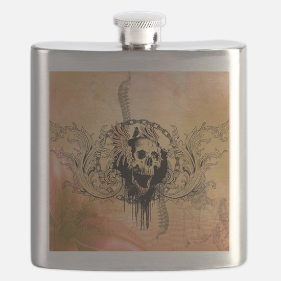 Awesome skull with crow and bones Flask