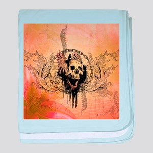 Awesome skull with crow and bones baby blanket