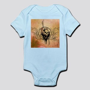 Awesome skull with crow and bones Body Suit