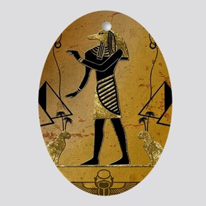 Anubis the egyptian god with pyramid Oval Ornament