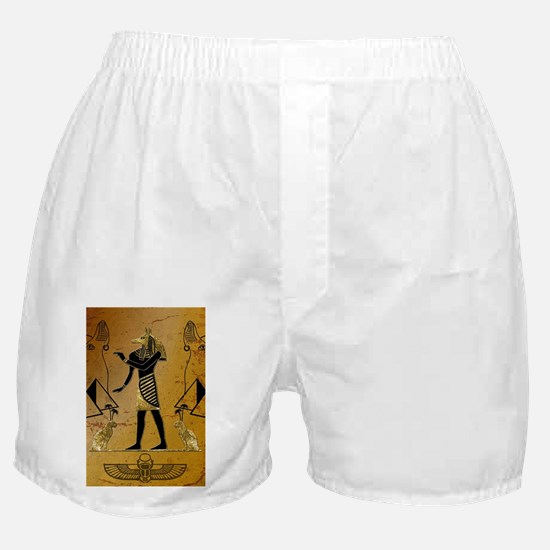 Anubis the egyptian god with pyramid Boxer Shorts