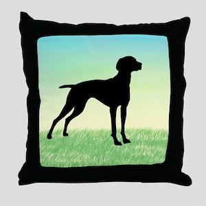 Grassy Field Vizsla Dog Throw Pillow