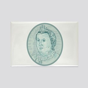18th Century European Empress Bust Oval Drawing Ma