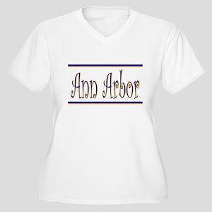 """""""Ann Arbor""""  Women's Plus Size V-Neck T-Shirt"""