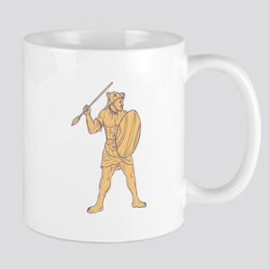 African Warrior Wolf Mask Spear Drawing Mugs