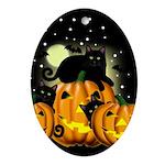 BLACK CAT HALLOWEEN Oval Ornament