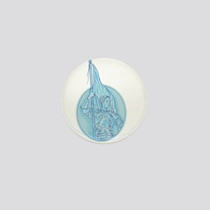 Joan of Arc Holding Flag Oval Drawing Mini Button