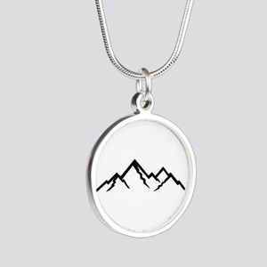 Mountains Silver Round Necklace