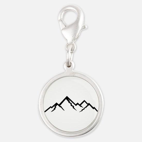 Mountains Silver Round Charm