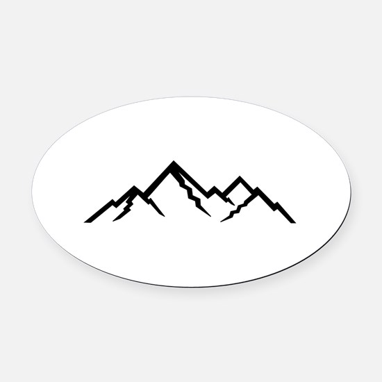Mountains Oval Car Magnet