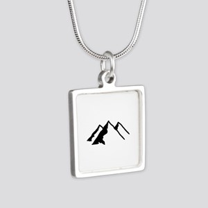 Mountains Silver Square Necklace