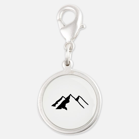 Mountains Silver Round Charm